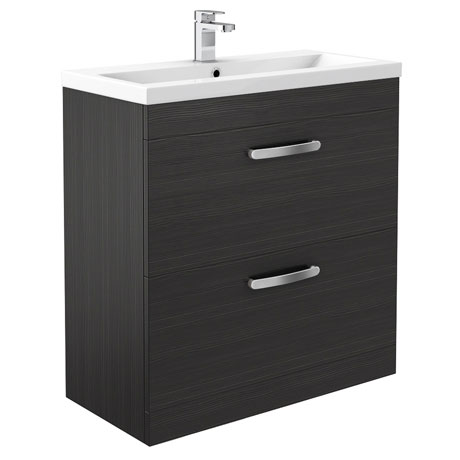 Brooklyn Black Vanity Unit - Floor Standing 2 Door Unit 800mm