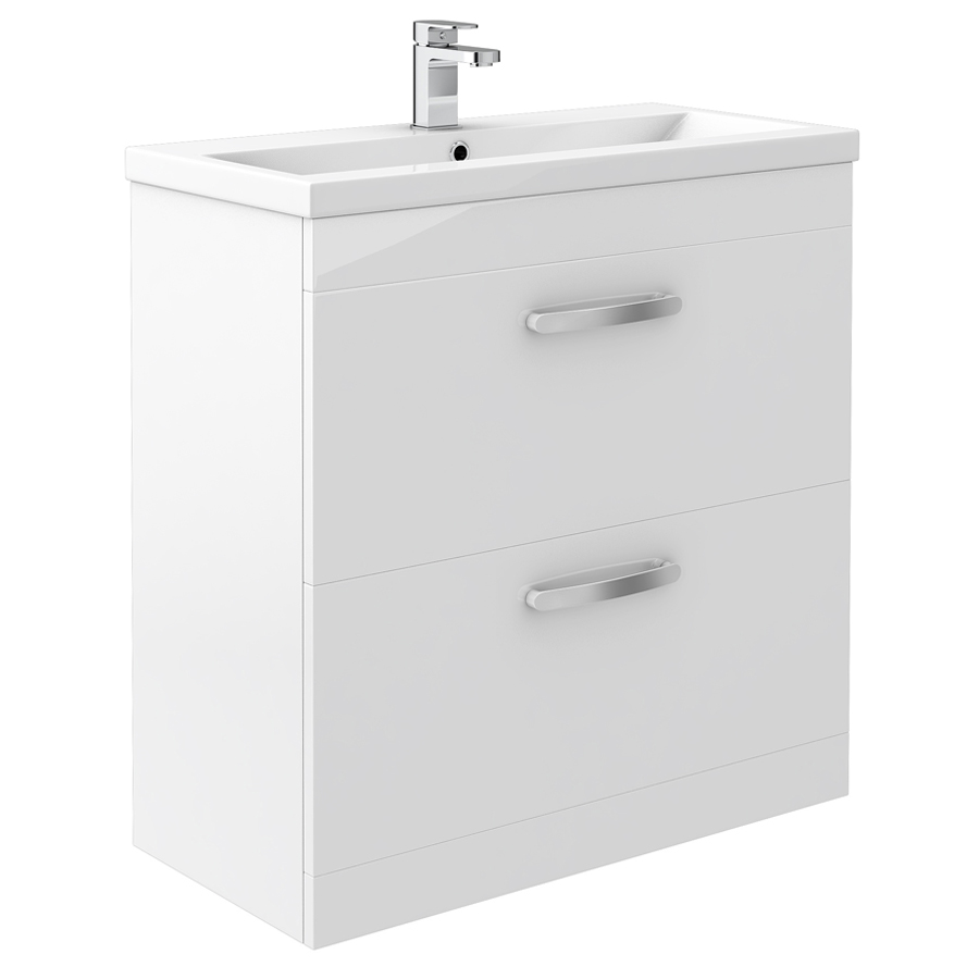 Brooklyn 800mm White Gloss Vanity Unit - Floor Standing 2 Door Unit profile large image view 1