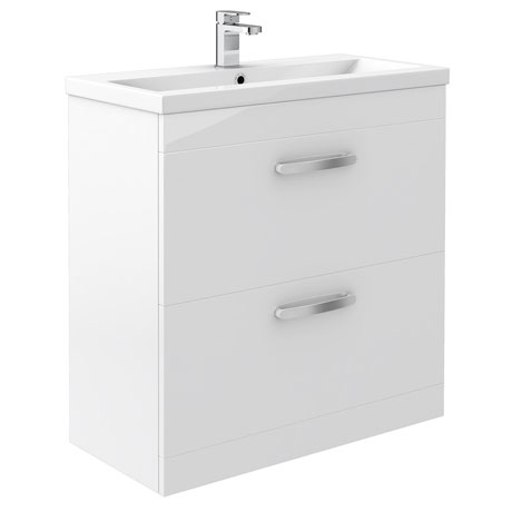 Brooklyn White Gloss Vanity Unit - Floor Standing 2 Door Unit 800mm
