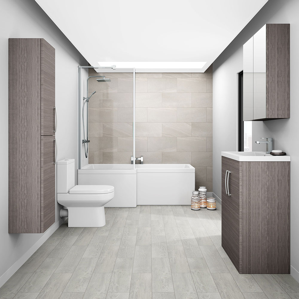 Brooklyn 500mm Grey Avola Vanity Unit - Floor Standing 2 Door Unit profile large image view 3