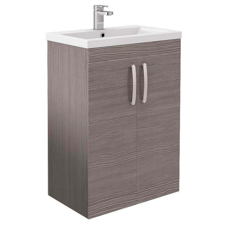 Brooklyn Grey Avola Bathroom Suite + B-Shaped Bath profile large image view 5