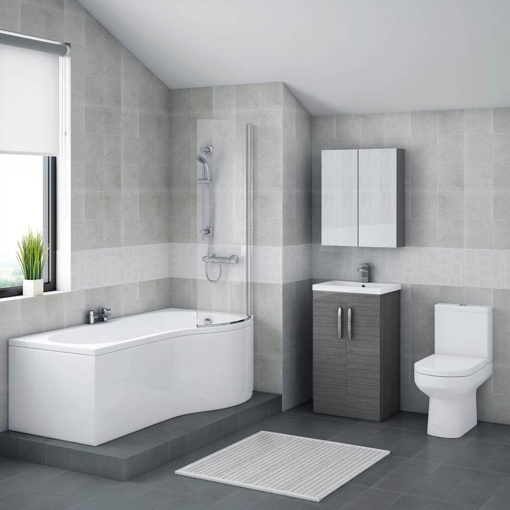 Brooklyn grey avola bathroom suite with b shaped bathtub for Bathroom suites