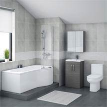 Brooklyn Grey Avola Bathroom Suite with B-Shaped Bath Medium Image