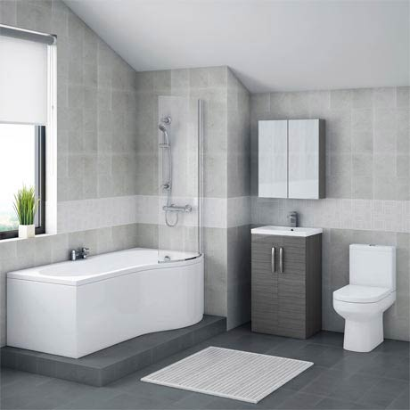 Brooklyn Grey Avola Bathroom Suite with B-Shaped Bath