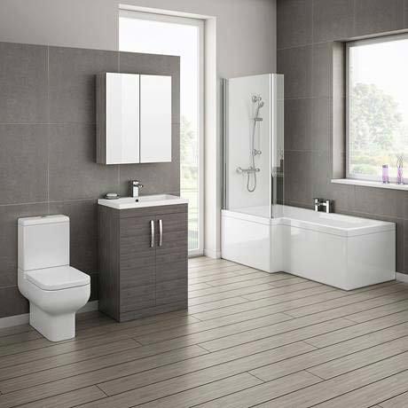 Brooklyn grey avola bathroom suite with l shaped bath - 1 2 bath ideas ...