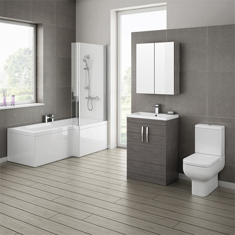 Brooklyn Grey Avola Bathroom Suite with L-Shaped Bath