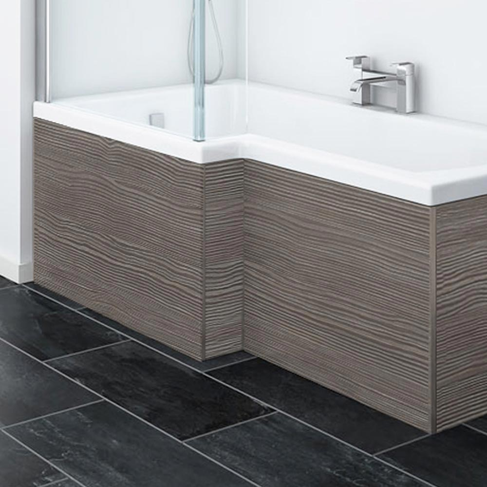 Brooklyn Grey Avola Offset MDF Front Bath Panel - MPD535 Large Image