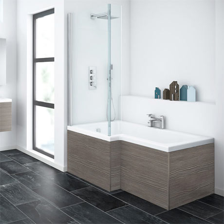 Brooklyn Grey Avola Shower Bath - 1700mm L Shaped Inc. Screen & MDF Panel
