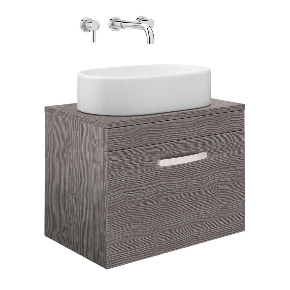Brooklyn Grey Avola Single Drawer Wall Hung Cabinet Inc. Counter Top Basin 0TH - 605mm Large Image