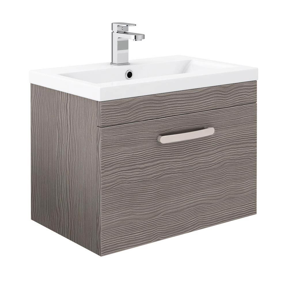 Brooklyn Grey Avola Wall Hung Vanity Unit - Single Drawer - 600mm Large Image