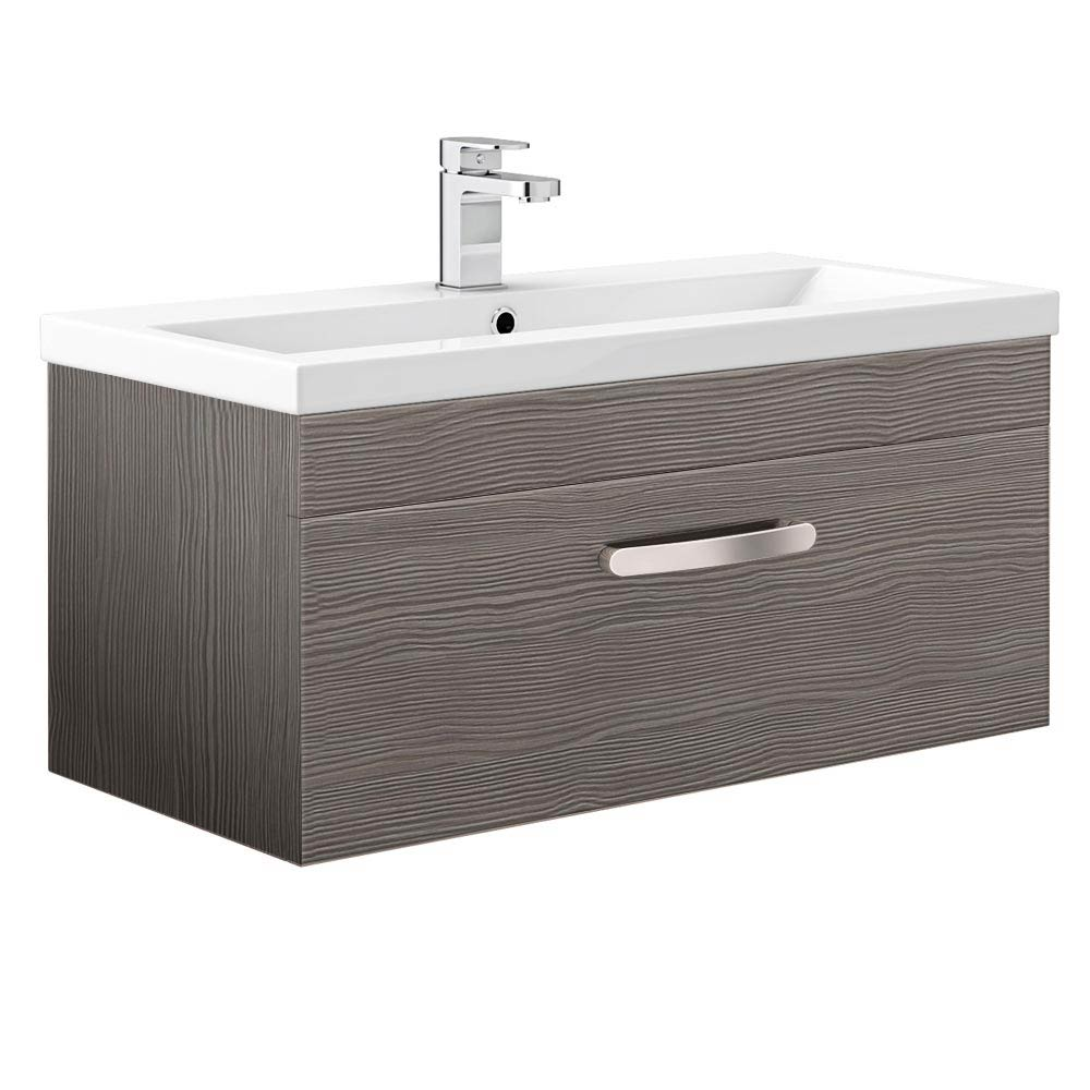 Brooklyn Grey Avola Wall Hung Vanity Unit - Single Drawer - 800mm Large Image