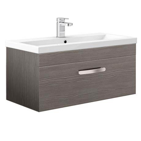 Brooklyn Grey Avola Wall Hung Vanity Unit - Single Drawer - 800mm