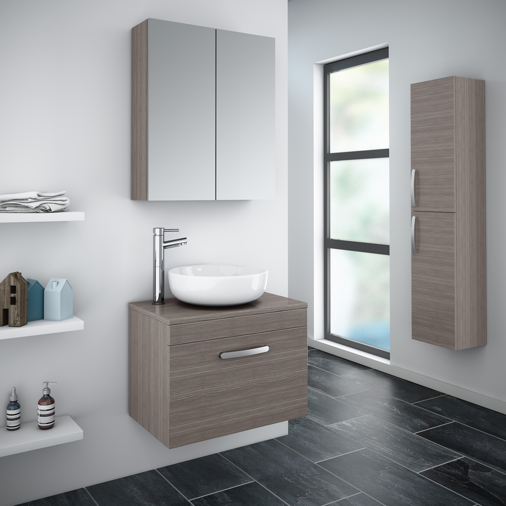 Brooklyn 605mm Grey Avola Worktop & Single Drawer Wall Hung Cabinet profile large image view 2