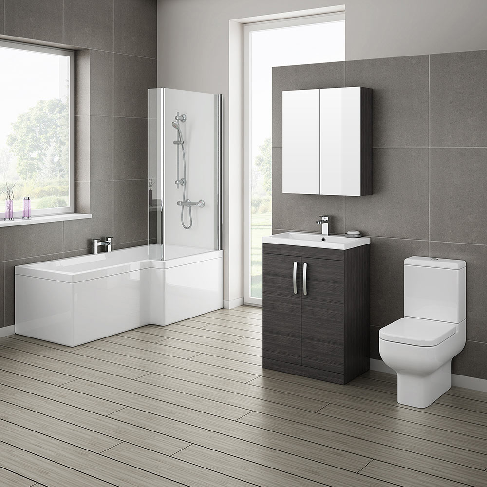 Brooklyn Hacienda Black Bathroom Suite with L-Shaped Bath Large Image