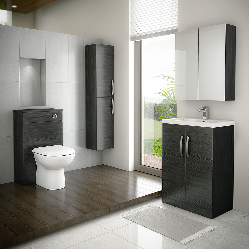 This stunning black bathroom design would make a statement in any home. This bathroom suite package from Victorian Plumbing includes a wall hung black bathroom cabinet, vanity unit, black mirrored cabinet and a black WC toilet unit.