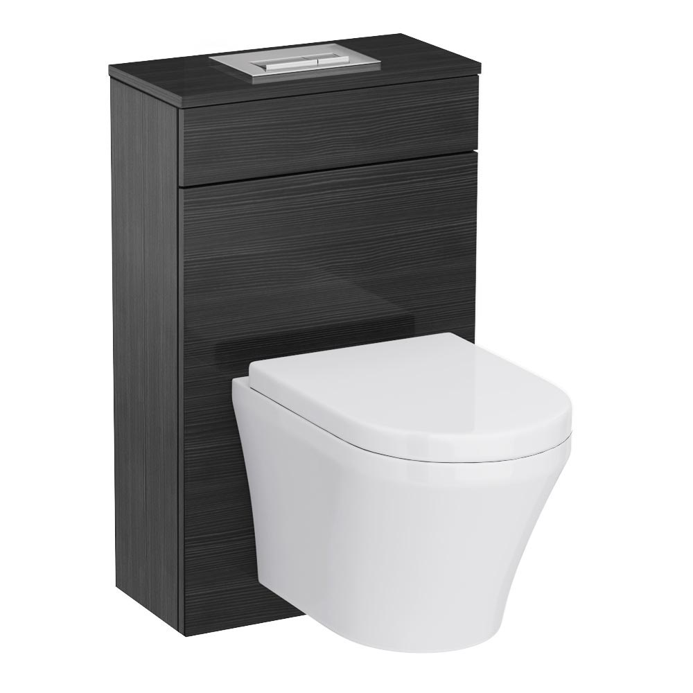 Brooklyn Black WC Unit Inc. Cistern Frame, Flush Plate + Wall Hung Pan profile large image view 1