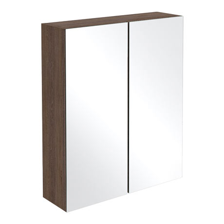Brooklyn Mid Oak 600mm Bathroom Mirror Cabinet - 2 Door