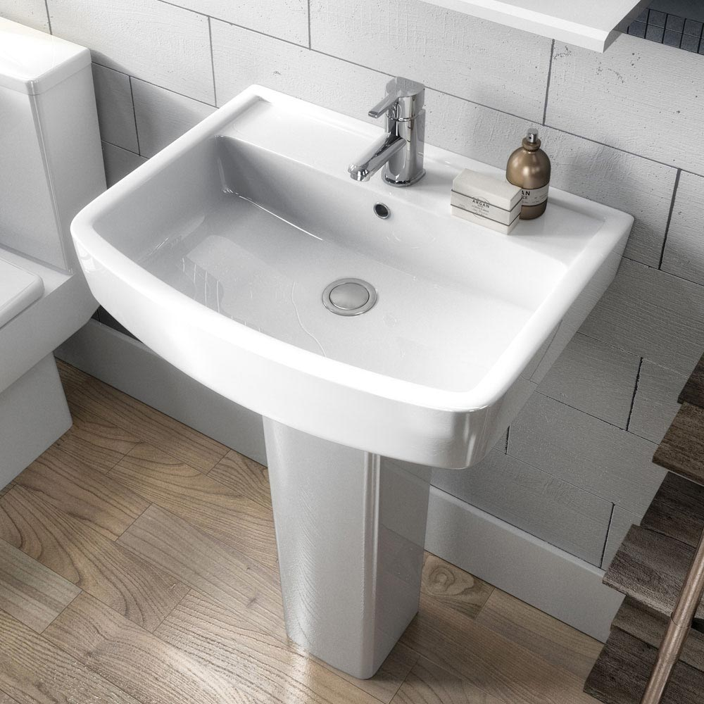Brooklyn Modern Square Basin + Pedestal - 1 Tap Hole  Feature Large Image