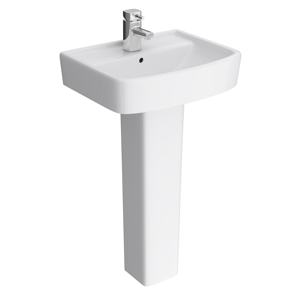 Brooklyn Modern Square Basin & Pedestal - 1 Tap Hole Large Image