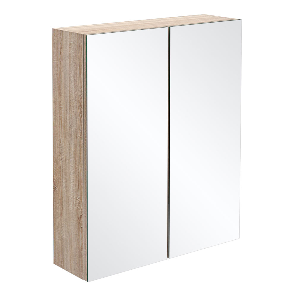 Brooklyn Natural Oak 600mm Bathroom Mirror Cabinet - 2 Door