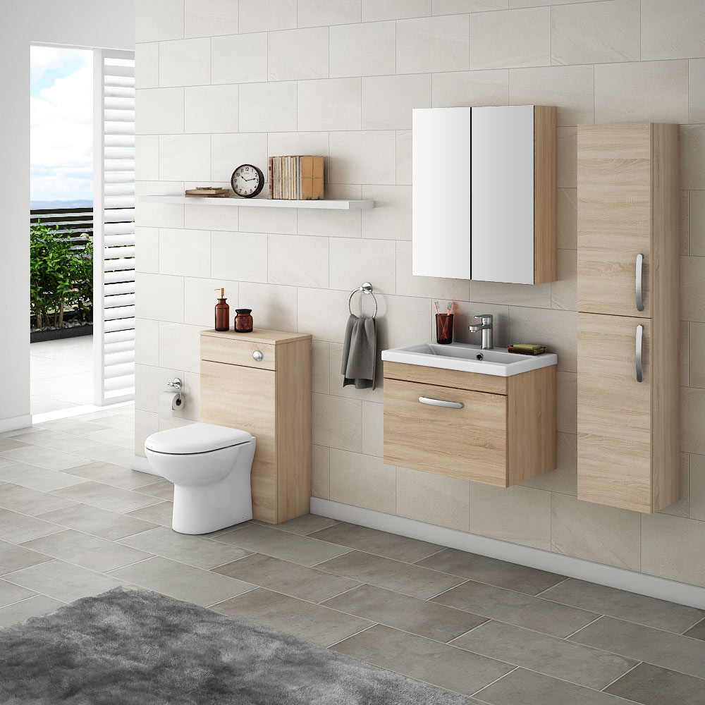 Wall hung bathroom furniture is fantastic at opening up the footprint in your bathroom. Our Brooklyn collection has an extensive collection of wall hung fixtures available in grey, light and dark oak, as well as both black and white.
