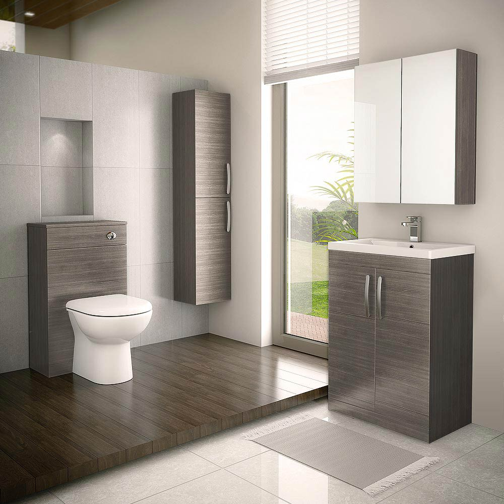 Brooklyn WC Unit with Cistern - Grey Avola - 500mm profile large image view 3
