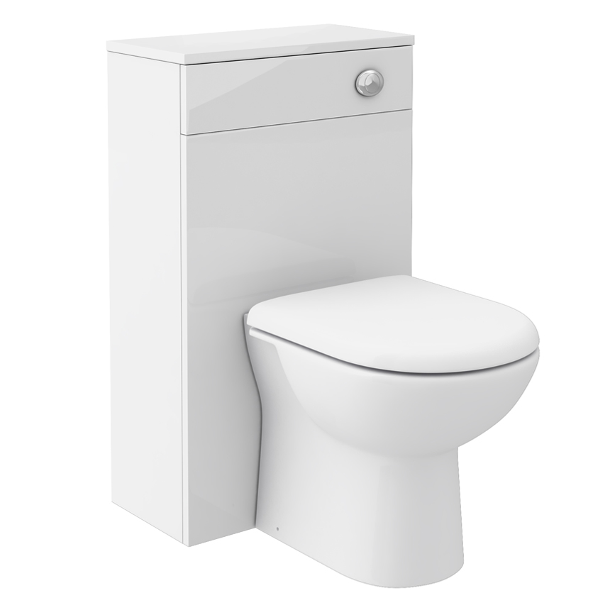 Brooklyn WC Unit with Cistern - White Gloss - 500mm Large Image