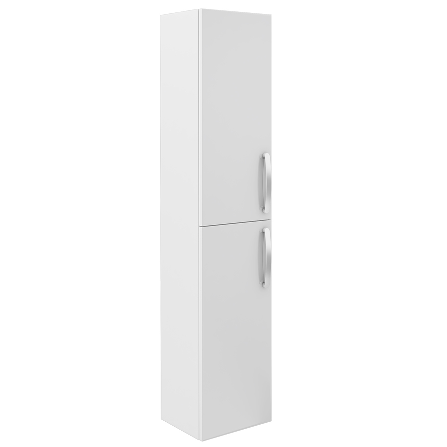 Brooklyn Wall Hung 2 Door Tall Storage Cabinet - White Gloss Large Image