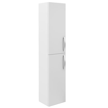 Brooklyn Wall Hung 2 Door Tall Storage Cabinet - White Gloss