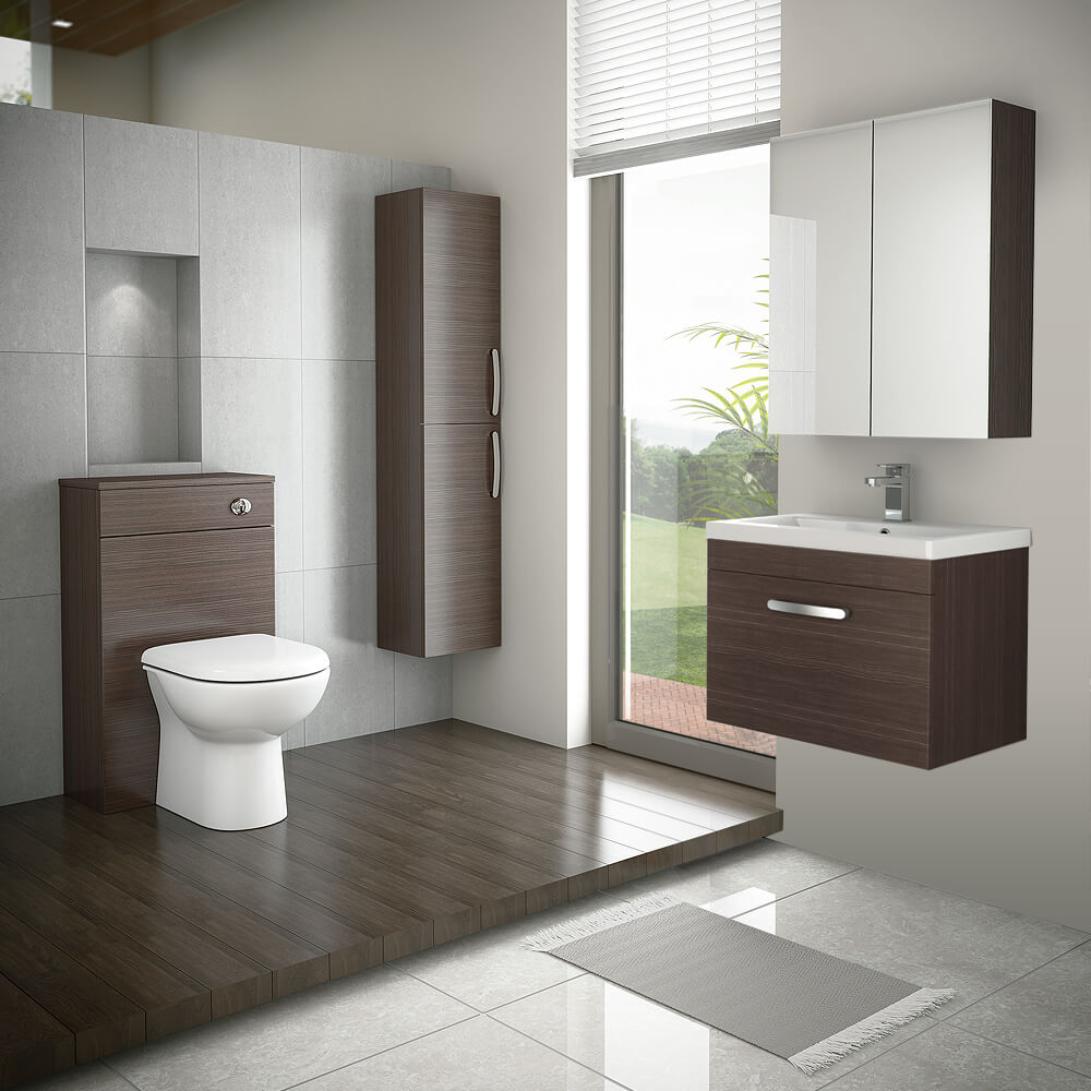 Brooklyn Brown Avola Wall Hung Vanity Unit