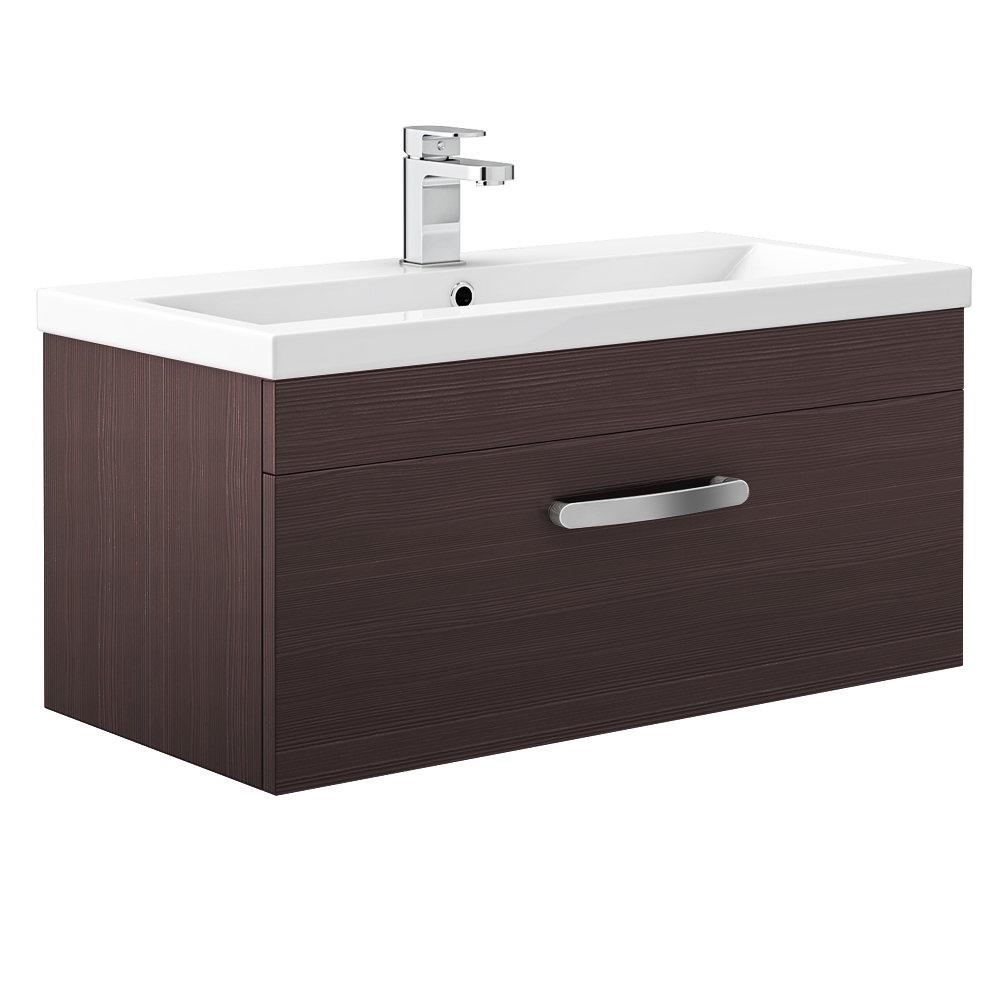 Brooklyn Brown Avola Wall Hung Vanity Unit - Single Drawer - 800mm profile large image view 1