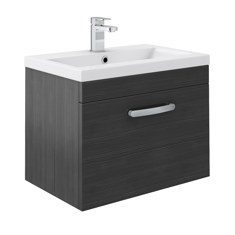 Brooklyn Black Wall Hung Vanity Unit - Single Drawer - 600mm Large Image