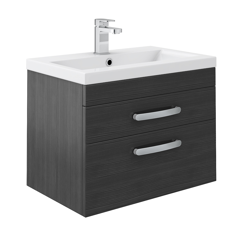 Brooklyn Wall Hung Double Drawer Vanity Unit - Hacienda Black - 600mm Large Image