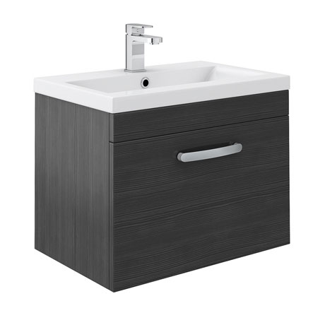 Brooklyn Black Wall Hung Vanity Unit - Single Drawer - 600mm