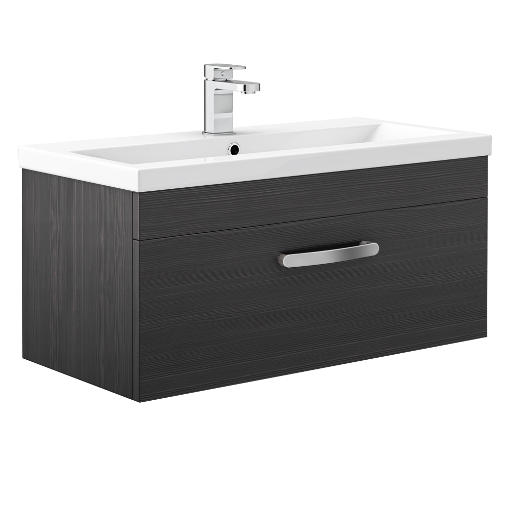 Brooklyn Black Wall Hung Vanity Unit - Single Drawer - 800mm Large Image
