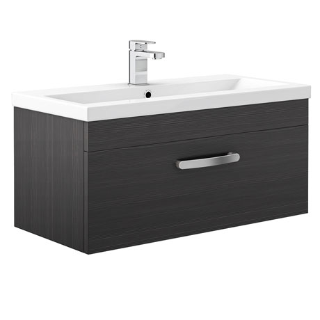 Brooklyn Black Wall Hung Vanity Unit - Single Drawer - 800mm