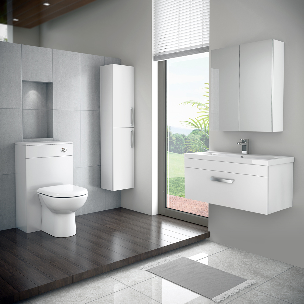 Brooklyn White Gloss Wall Hung Vanity Unit - Single Drawer - 600mm Feature Large Image