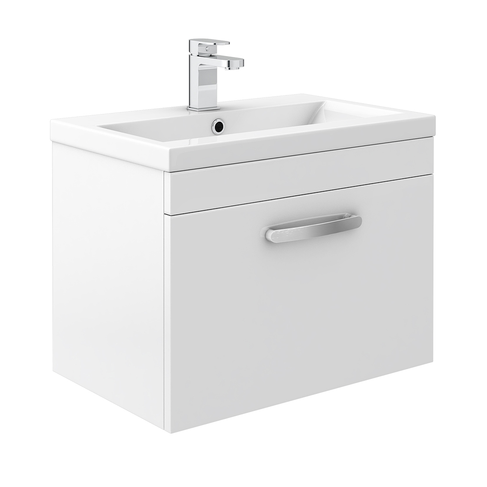 Brooklyn White Gloss Wall Hung Vanity Unit - Single Drawer - 600mm Large Image