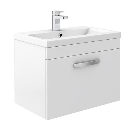 Brooklyn White Gloss Wall Hung Vanity Unit - Single Drawer - 600mm