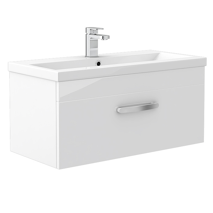 Brooklyn White Gloss Wall Hung Vanity Unit - Single Drawer - 800mm Large Image