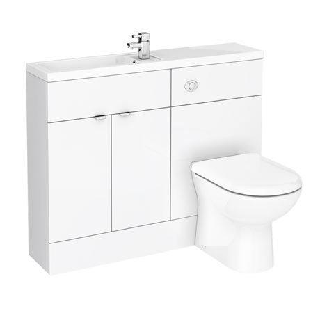 Brooklyn White Gloss Slimline Combination Furniture Pack - 1100mm Wide