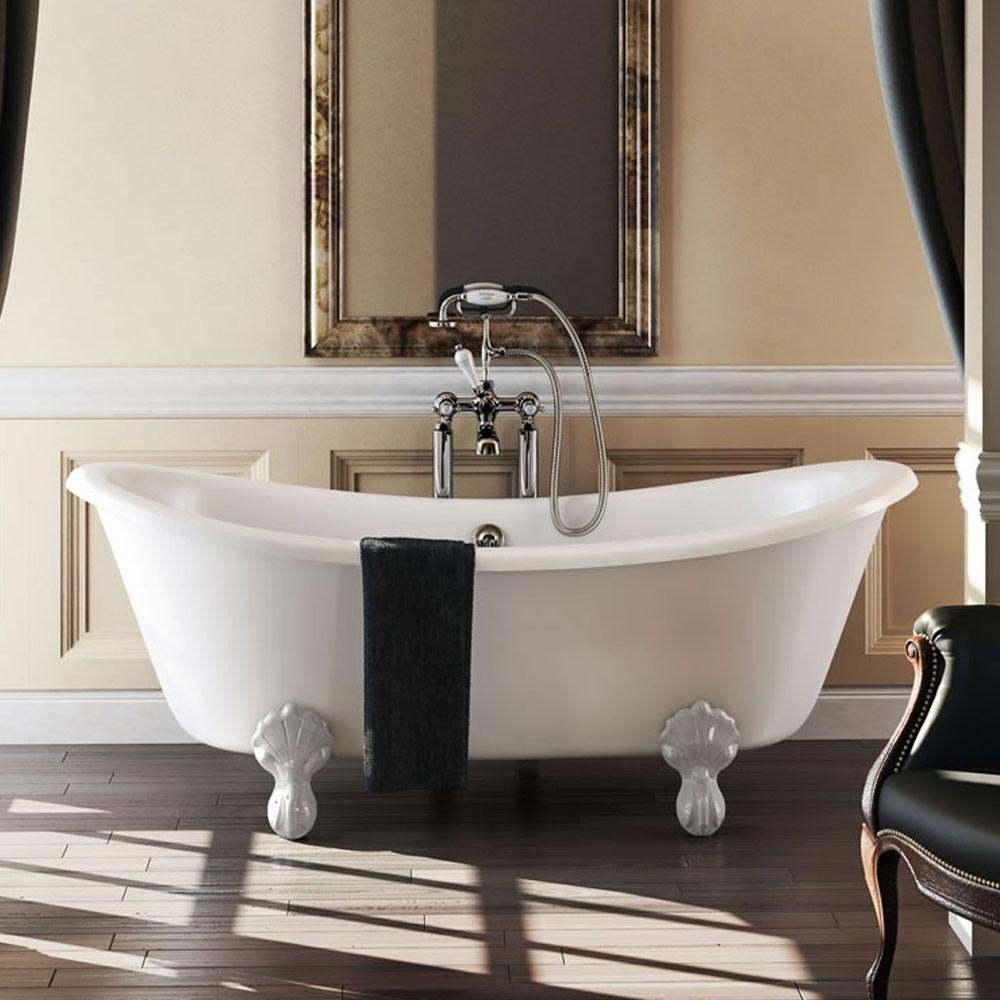 Burlington 1640 Bateau Roll Top Bath + White Claw Feet Large Image