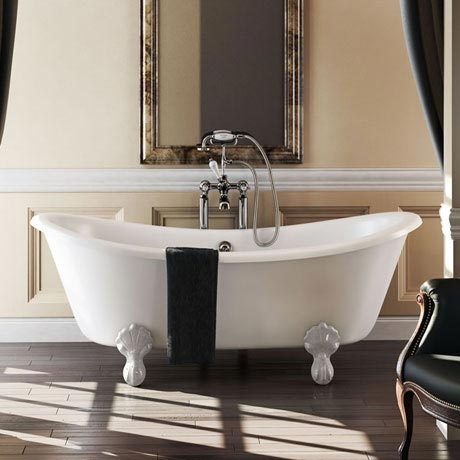 Burlington 1640 Bateau Roll Top Bath + White Claw Feet