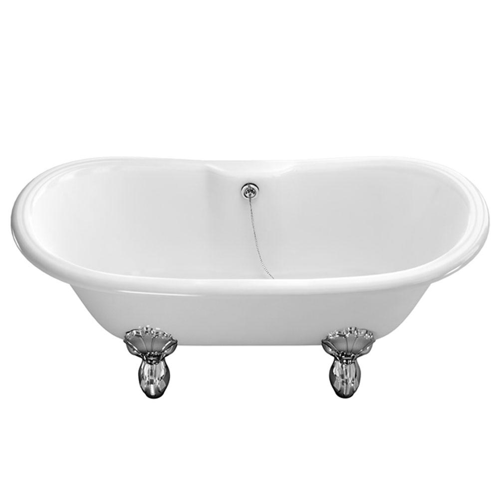 Burlington 1690 Chandler Natural Stone Bath + Chrome Luxury Claw Feet profile large image view 1