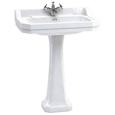 Burlington Edwardian 80cm Basin and Regal Pedestal - Various Tap Hole Options