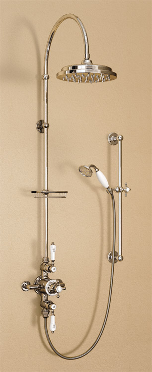"Burlington Avon Anglesey Exposed Thermostatic Valve w Riser, Curved Arm, 9"" Rose, Slider Rail Kit Large Image"