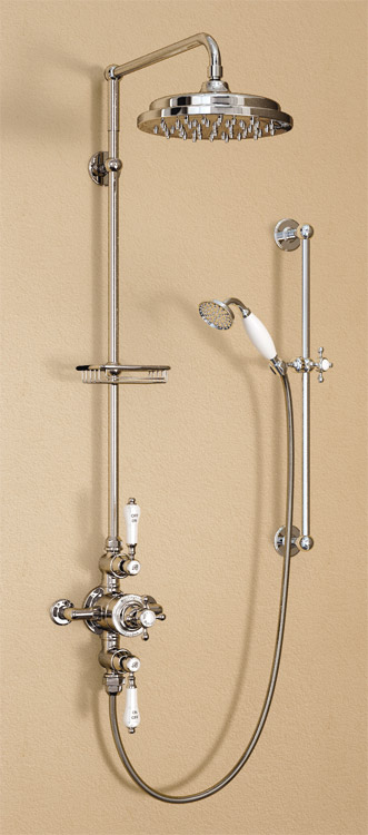 "Burlington Avon Anglesey Exposed Thermostatic Valve w Riser, Straight Arm, 9"" Rose & Slider Rail Large Image"