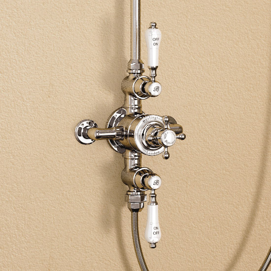 "Burlington Avon Claremont Exposed Thermostatic Valve w Riser, Straight Arm, 9"" Rose & Slider Rail Feature Large Image"