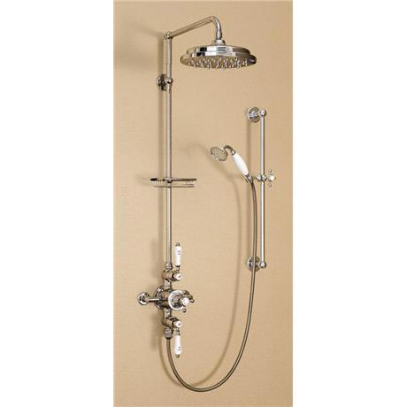 "Burlington Avon Claremont Exposed Thermostatic Valve w Riser, Straight Arm, 9"" Rose & Slider Rail"