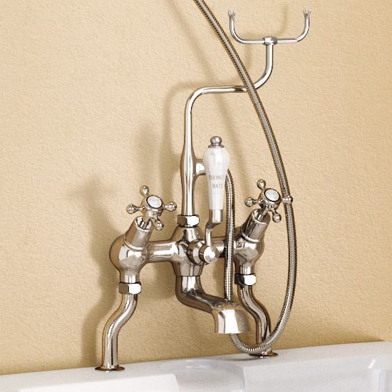 Burlington Anglesey Angled Bath Shower Mixer with Slide Rail & Soap Basket - H230-AN Profile Large Image